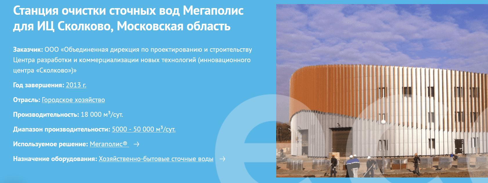 Станция очистки сточных вод Мегаполис для ИЦ Сколково, Московская область